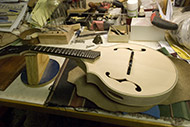 'In the 'White,' assembled in the raw wood state to allow final adjustments before staining, coloring, and finishing take place.